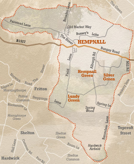 Map of Hempnall parish. The main settlements in the parish are Hempnall, Hempnall Green, Silver Green and Lundy Green